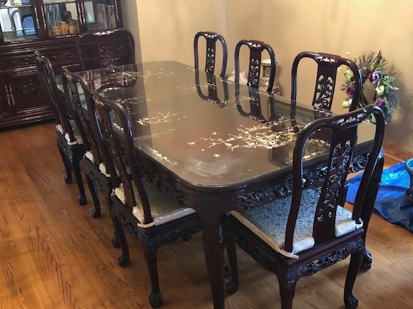 Rosewood Dining Table Set And Matching China Cabinet
