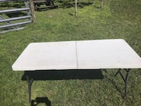 white wooden table with black metal frame Hawthorne, 32640