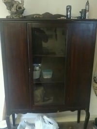 brown wooden framed glass cabinet Marshall, 20115