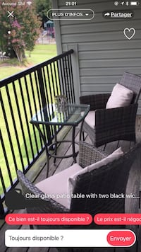 Gray framed glass top patio table