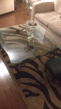 Wrought iron/glass top coffee table