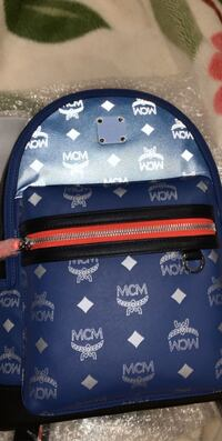 blue small logo mcm backpack