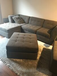 Gray fabric sectional sofa with ottoman Herndon, 20171