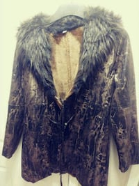 NEW Multi Colored Leather Coat w/Faux Fur Collar  Chandler