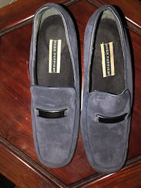 "Brand new ""blue suede shoes"" Hush Puppies. Slip on loafers size 10."