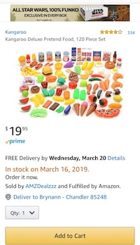 Brand New, in box, 120 Piece Pretend Plastic Food Play Set- BPA Free Chandler, 85248