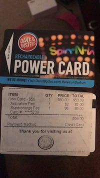 Dave and  Busters  Powercard Suitland, 20746