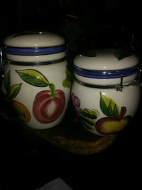 white, green, and blue ceramic canisters Surrey, V3R 3L6