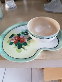 white and teal ceramic teacup with saucer Edmonton
