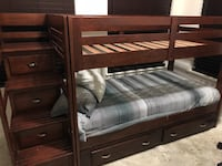 Brown wooden bunk bed no mattress Alexandria, 22315