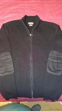 Michael Kors Black Full zip sweater with elbow patches size Mens Medium Dunmore