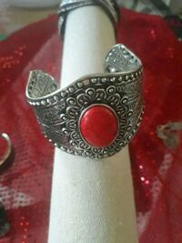 silver and red gemstone ring Pueblo, 81008