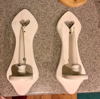 two white wooden sconce candle holders with two white candle sticks Las Vegas, 89183