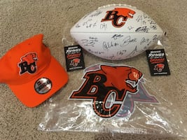 2019 BC LIONS SIGNED BALL AND DRAFT HAT