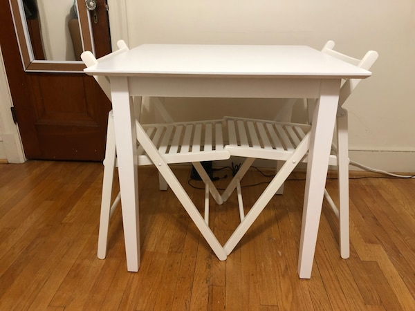 Udine White dining Table for two with two IKEA TERJE White foldable chairs
