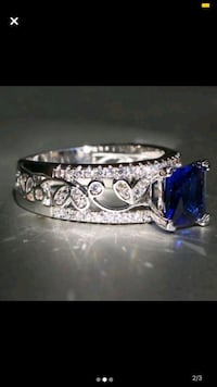 size 8 Sapphire ring 925 silver filled ring Moore, 73160