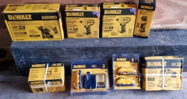 Assortment of brand new DeWalt tools