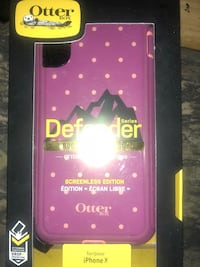 purple and pink polka-dotted OtterBox Defender series iPhone X with pack Salem, 24153