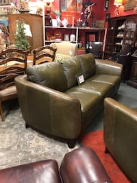 Luxe Olive Leather Sofa