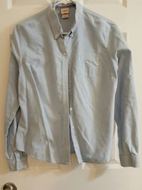 gray button up long sleeved collared shirt
