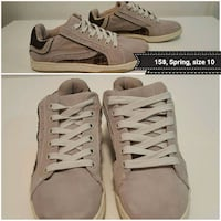pair of size 10 beige suede low-top sneakers