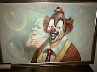 Very unique Clown  oil canvas painting with frame Mission, 66202