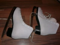 pair of white leather open toe ankle strap heels Markham, L3T 5G1