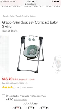 baby's white and black Graco cradle n swing Alexandria, 22315