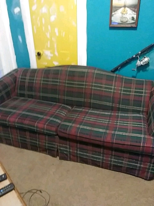 Red Green And White Plaid Sofa