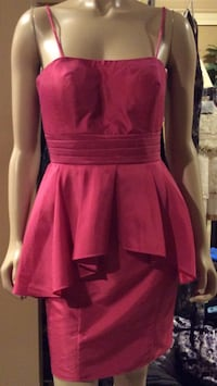 Pretty Maids pinkish red spaghetti strap gorgeous cocktail dress ( pls slide to see other photo )