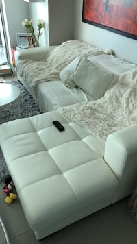 White leatherette sectional