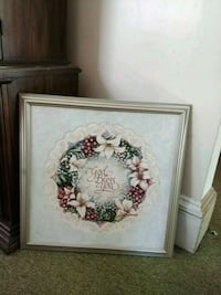 white and red flower painting with brown wooden frame Ridley Park