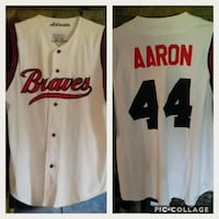 white button-up Braves Aaron 44 jersey Many, 71449
