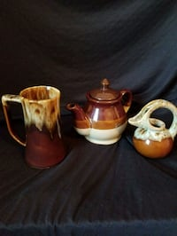 three white and red ceramic teapots Riverside, 92504