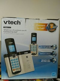 NEW Vtech DECT 6.0 2 Cordless Phones with Bluetooth Connect-to-Cell, Caller ID, Handset Speaker Phones, Black and Silver