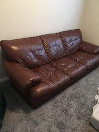 brown leather 3-seat sofa Spruce Grove, T7X 0H6