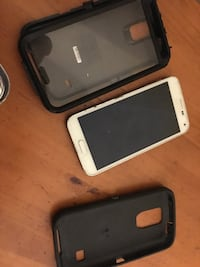 white Samsung Galaxy android smartphone with black case