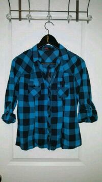 black and blue plaid dress shirt Toronto