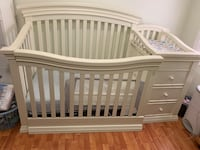 Solid wood crib with changing table and toddler railing Woodbridge Township