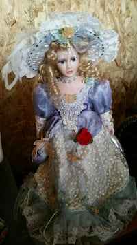 doll in gray and blue ruffled dress Culdesac, 83524