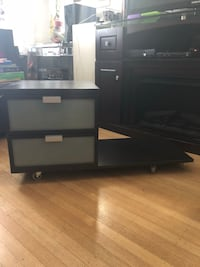 black wooden TV stand with cabinet Vancouver, V5X 3V6