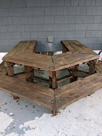 brown wooden picnic table with bench Sayre, 18840
