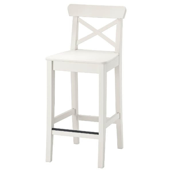 "Two Ikea INGOLF Bar stool with backrest, white, 24 3/4 "" - $75 for the pair, $40 each"