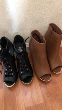 Two pair of black and brown open-toe side zip boots