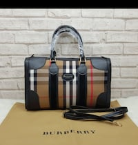 Tote bag Burberry marrone, nero e bianco