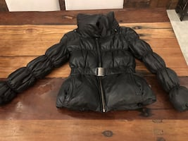 Real leather winter coat