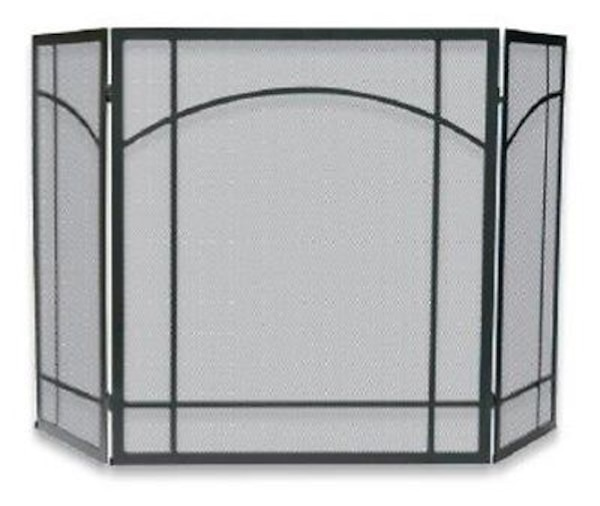 UniFlame S-1023 3 Fold Black Uniflame Wrought Iron Mission Screen