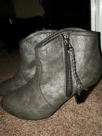 pair of gray leather zip-up booties Moncton, E1A 3J5