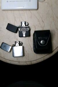 2 Zippo lighters and Leather case with clip