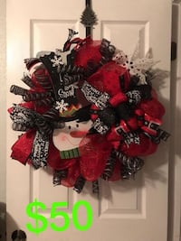 red, black, and white snowman wreath Corpus Christi, 78409